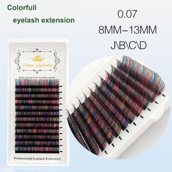 0.07 J / B / C Natrual soft candy Farbe gefälschte Wimpern russische Volumen Wimpern Fans Premium Wimpernverlängerung 5D weiche Wimpernverlängerung