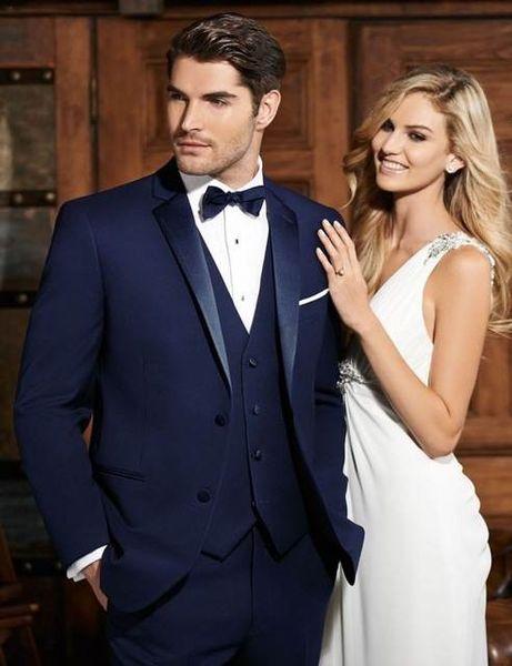 Classic Design Two Button Navy Blue Groom Tuxedos Notch Lapel Groomsmen Mens Wedding Suits Excellent Man Suits(Jacket+Pants+Vest+Tie) 95