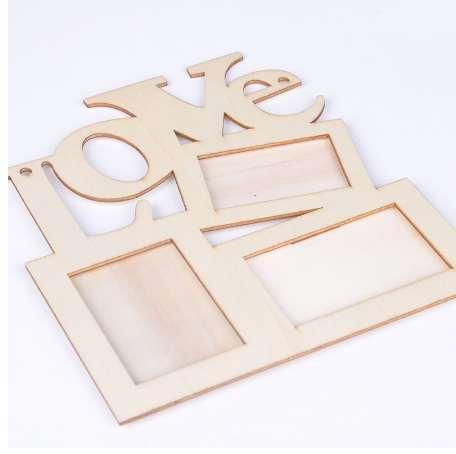 Новый полый любовь деревянная фоторамка Белая база DIY фоторамка Арт Декор любовь фоторамка