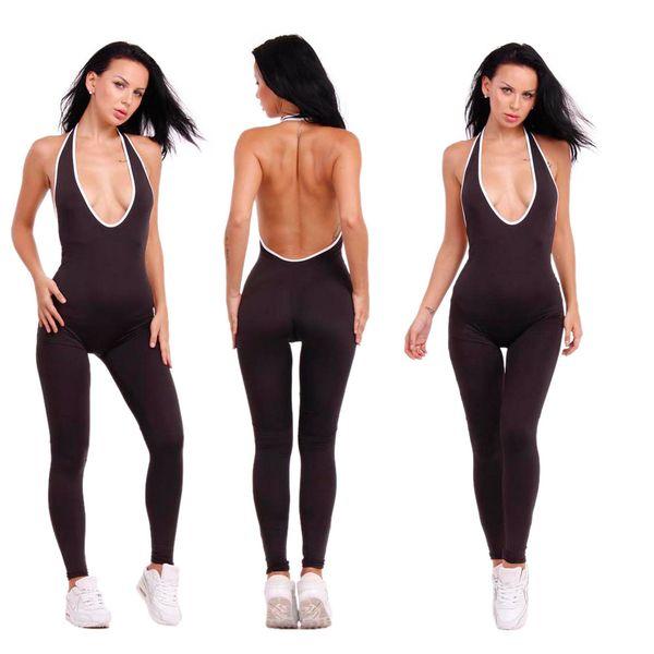 Summer Women Jumpsuit Sleeveless Skinny Backless Jumpsuit Sexy Jumpsuit Slim V-Neck Halter Jumpsuits Black Overalls long pants
