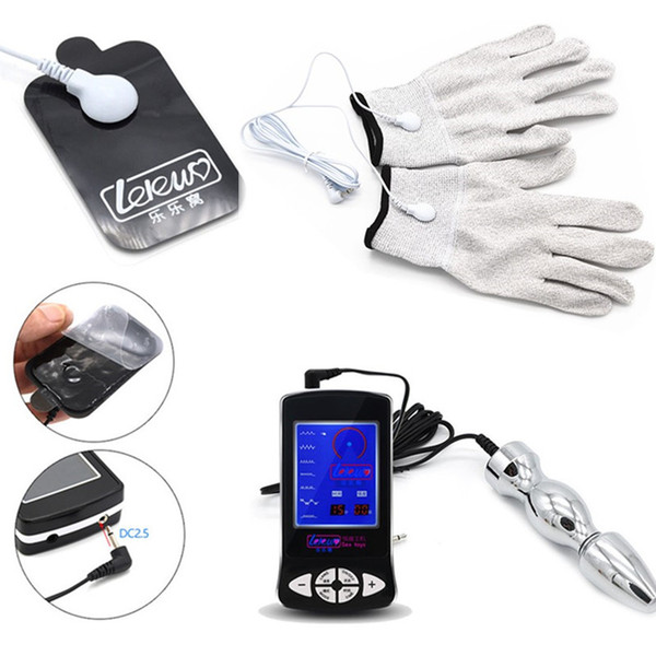 3in1 Electric Shock Toys with Gloves and Stainless Steel Anal Plug Pulse Physical Therapy Pad Massager Sex Toys for Couples I9-1-225