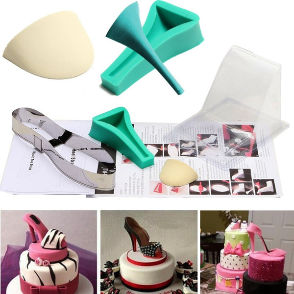 2019 New 3D Lady High Heel Shoe Kit Silicone Fondant Mould Sugar Chocolate Cake Decor Template Mold Christmas Birthday Wedding Party Cake Mold From