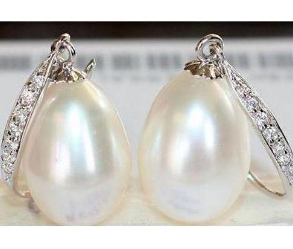 Encanto un par de 12-13 mm mar del sur blanco perla barroco pendiente 925 accesorios de plata