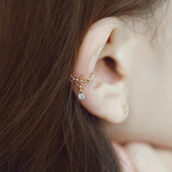 1pcs Brincos Elegant Crystal Ear Cuff Rhinestone Tiny Water Drop Gold Silver Plated Clip Earrings For Women Pendientes Jewelry