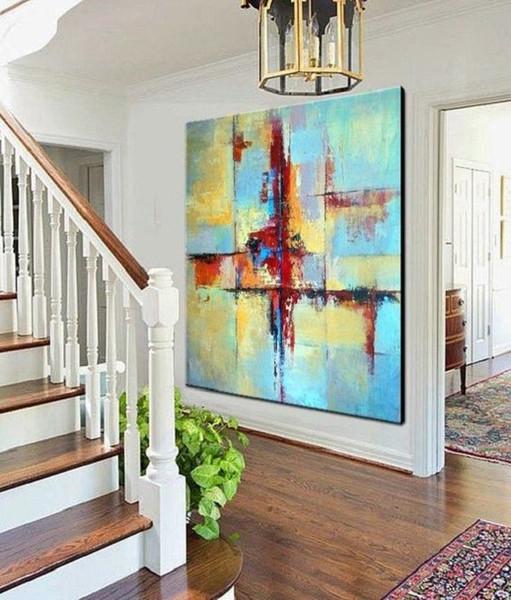 Acheter Fait à La Main Moderne Abstraite Mur Art Décor Acrylique Toile Photos Peint à La Main Or Bleu Coloré Paysage Peinture à L Huile De 56 99 Du