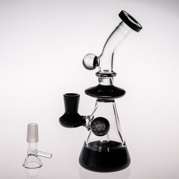 Joint 14.4mm Black Glass Bongs Water Pipes With Noctilucence Ball in stock Recycle Oil Rigs Glass Bongs 19cm Hookahs Cheap