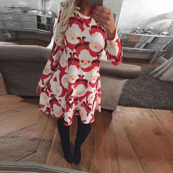 Women Long Sleeve Christmas Print Dress S-5XL Dress 2017 New Casual Dresses Plus Size High Quality Vestidos party Mujer Hot sale
