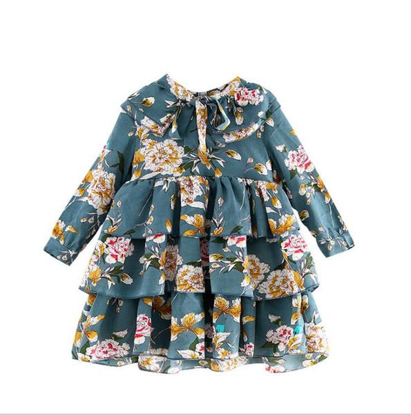 flowers dress 2018 Ins NEW autumn styles Flare Sleeve dress retro big flower printed multi layered lotus leaf lace waist elegant dress