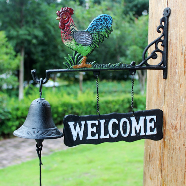 Cast Iron Metal Rooster Barn Bell Hanging Dinner Bell Cabin Lodge Shed Gate Fence Porch Welcome Dinner Bell Hand Paint Garden Gift Animal