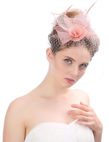 Free Shipping Feather Linen Tulle Women Hats For Wedding Party Special Occasion Formal Ladies Tulle Red Hats Accessories for Wholesale