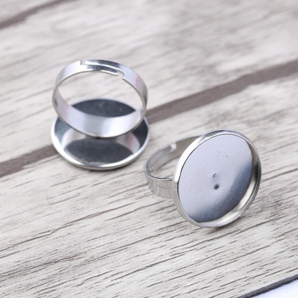 Reidgaller 10pcs Edelstahl verstellbarer Ring Rohlinge passen 16mm 18mm Runde Cabochon Grundeinstellungen DIY Lünette für Schmuck machen