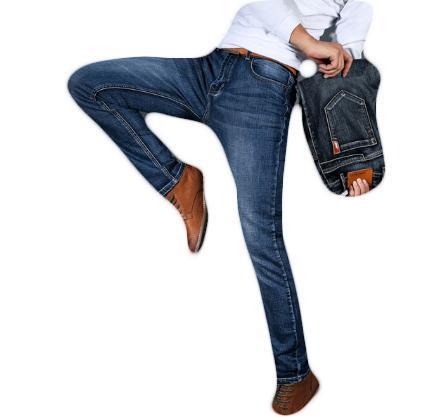 Men's Jeans Slim Fit High Elastic Pencil Denim Trousers Male Casual Black Blue Jeans Plus Size 28-40 High Quality