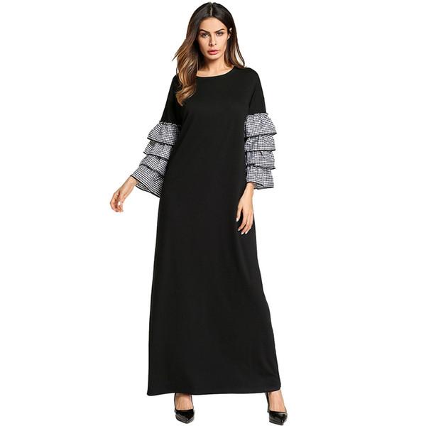2019 Plus Size Night Dress Long Sleeve Ruffles Middle East Abaya Casual  Homewear Dress Sleepwear Dresses Maxi Dress Muslim Abaya Gown From ...