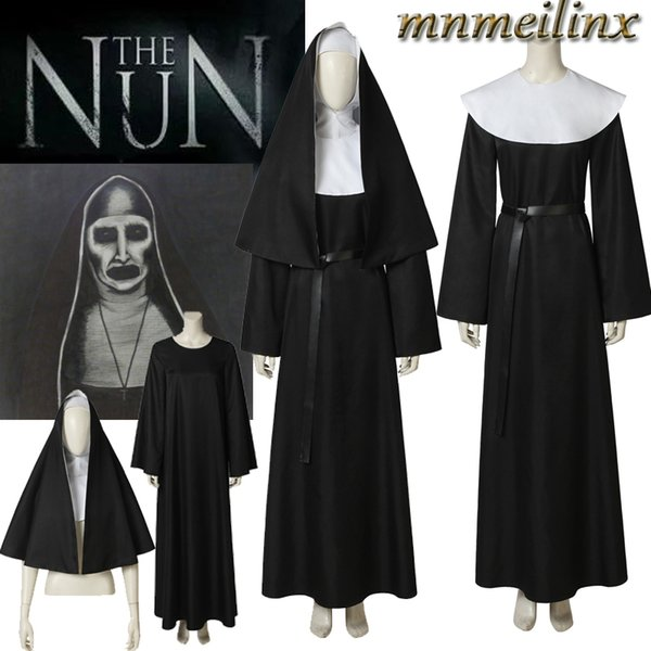 Halloween Horrible Movie Cosplay The Nun Valak Costume The Conjuring 2 Cosplay Fancy Dress Unisex Robe Free Shipping Custom Made