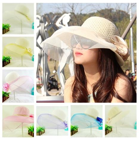 New Designer Ladies Elegant Organza Beach Hats Women Spring Summer Big Beach Straw Visors Lady Dress Church Foldable Bucket For Sale