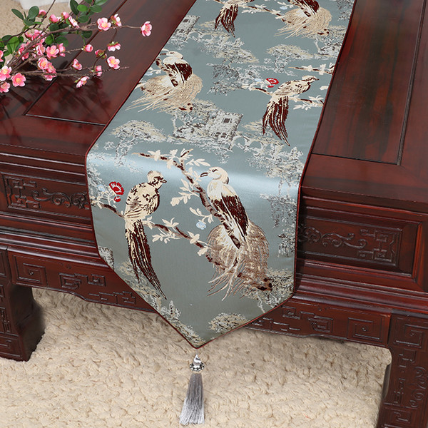 150 x 33 cm Long Thicken Fancy Silk Fabric Table Runner Wedding Christmas Chinese Damask Coffee Table Cloth Decorative Table Pad