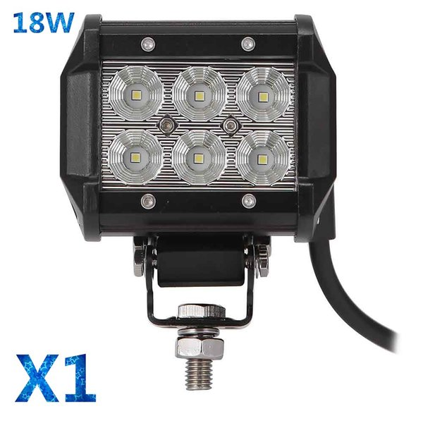 1Pc Car Led Top Work Light Offroad Lights 18W 6500K Led Chips Flood Spot Driving Lamp Spotlight for 12v 24v Vehicle SUV ATV