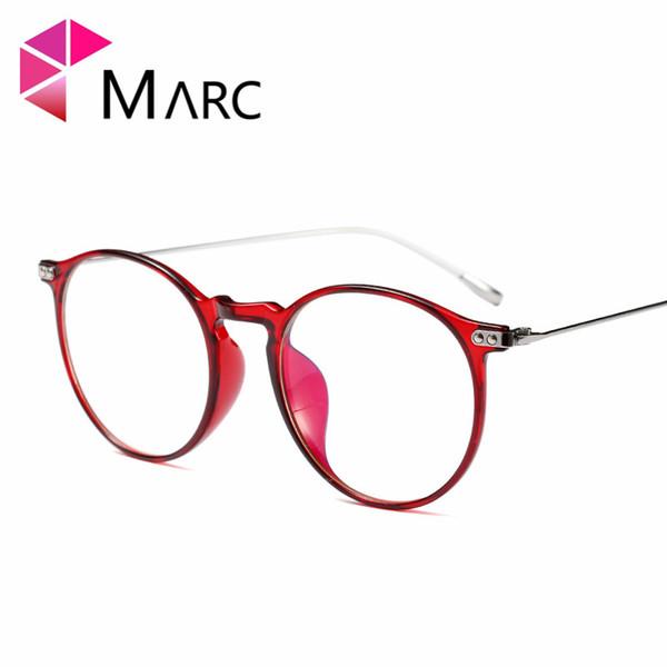 Compre Marc Mujeres Hombres Lectura Óptica Gafas De Vidrio Liso ...