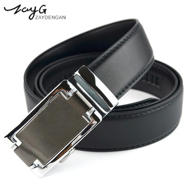 ZAYG Fashion Men Simple Unique High Quality Automatic Buckle Leather Belts For Men's  Business Style Jeans Classic Belt