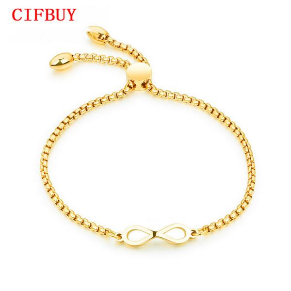 CIFBUY Bohemia Infinite Bracelet For Women Rose Gold / Gold /White Color Length Adjustable Female Box Chain Charm BraceletGS893