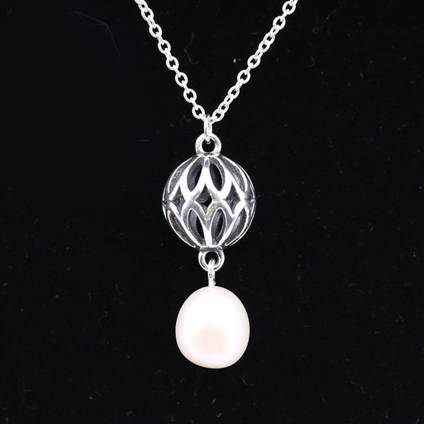 Real 925 Sterling Silver Openwork Lantern With Pearl Original New Necklace For Women Charm Bead Gift DIY Jewelry