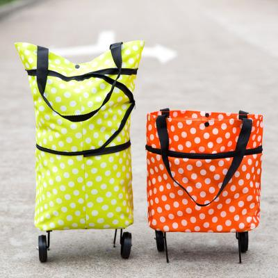 Oxford folding shopping bags with wheels HOT SALE supermarket tug shopping bags folding wheel packing for vegetables fruits storage baskets