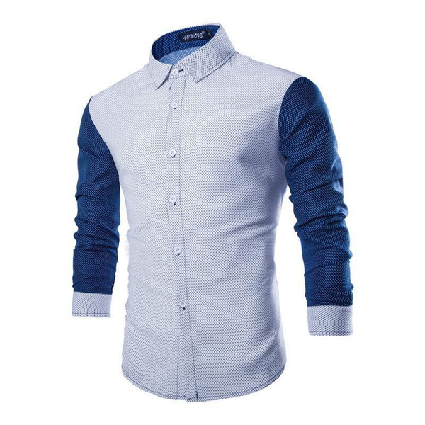 Nice Mens Shirts Casual Slim Fit Cotton Dot Fashion The Park Stitching Color Long Sleeve Streetwear Male Social Shirts M-2XL