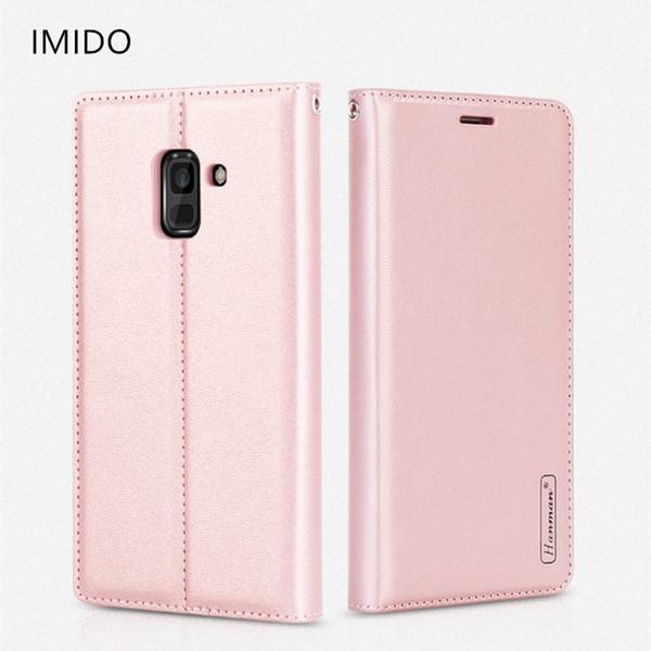 Venta al por mayor de lujo magnético de cuero genuino Wallet flip phone case para samsung galaxy a8 2018 soporte para teléfono caso a prueba de golpes a8plus2018