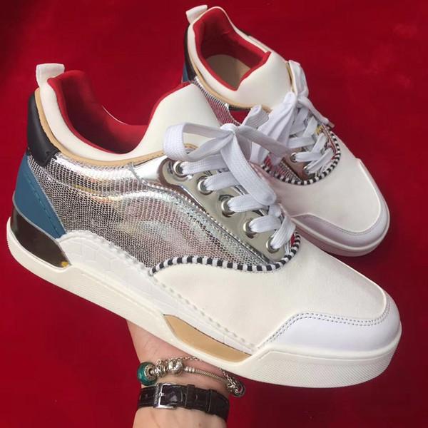 Yüksek Kaliteli AURELIEN Kırmızı Alt Ayakkabı Erkekler Sneaker Spor Ayakkabı Için Düz Luxuious Sneakers EĞİTMENLER Parti Düğün Hediyesi