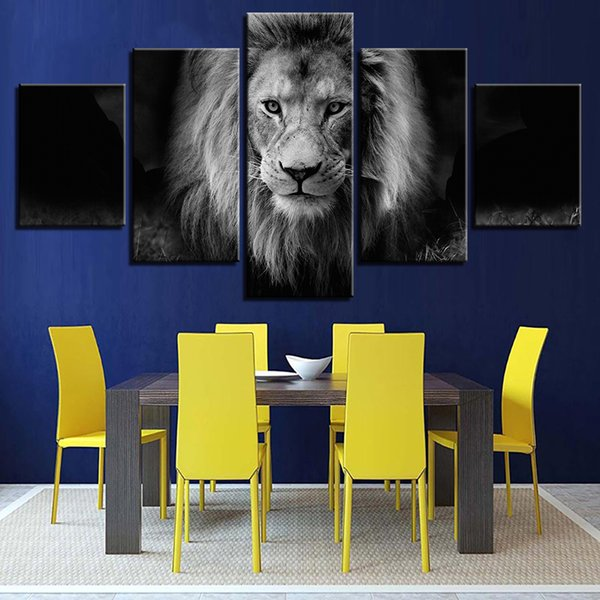 Canvas Painting Popular 5 Panel Animal Lion Modern Printing Type Poster HD Wall Art Pictures Modular Artwork Vintage Home Decoration
