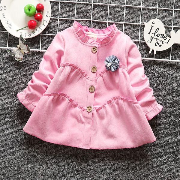 Sonbahar Çocuk Roupas Ruffles Kız Ceketler Hırka Bebek çocuk Bebekler Pamuk Uzun Kollu Yay Dış Giyim Coat Casaco