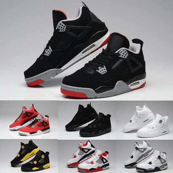 High Quality 4s Basketball Shoes 4 White Cement Bull Red Black White Chicago Men Women Sneakers Sports Shoes