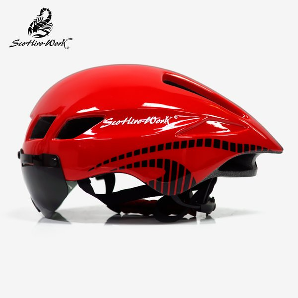 3 Lens Goggles mtb Bike Helmet Road Bicycle Sports Safety Helmet Riding Mens Racing In-Mold Time-Trial Cycling Helmets