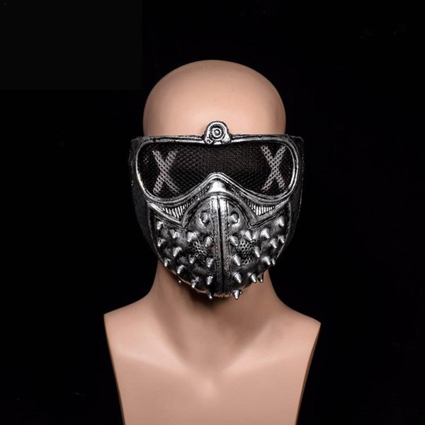 2PCS Halloween Punk Devil COS Anime Stage Mask Ghost Steps Street Rivet Death Watch Dogs Cosplay Stage Party Face Masks