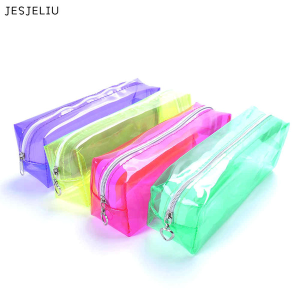 JESJELIU Fashion Candy Colors Pencil Box Bags Transparent Travel Waterproof Pencil pen Cases Korea Stationery Bag