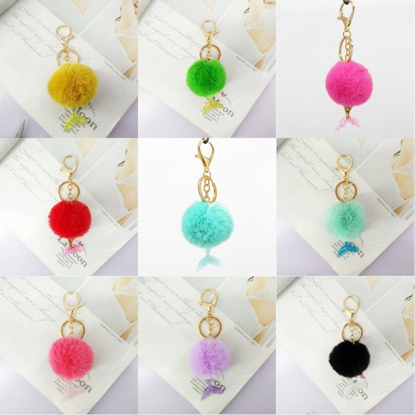 Stylish Mermaid Hairball Keychain Pendant Keyring Fluffy Hairball Cute Bag Key Chain Jewelry For Women Gift Support FBA Drop Shipping H664F