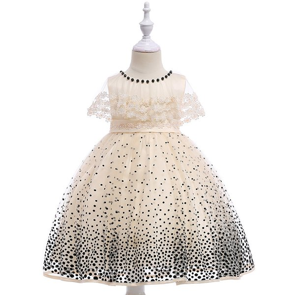 Children polka dot pageant dress beaded lace gauze embroidery capes lapel party dresses for girls Bows belt lace tulle dress Y1155