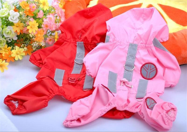 High quality Pet Dog Raincoat Waterproof Taffeta 4 legs Rainweart for Puppy dog Clothes supplies for Teddy Free Drop Shipping