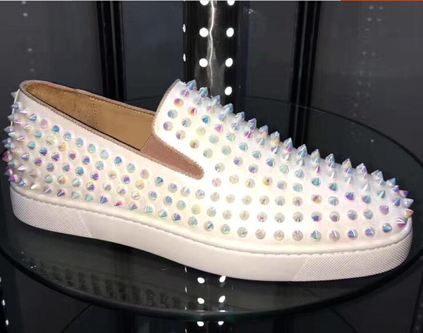 2018 New Name Brand Superstar Fashion Man Casual Shoes Handmade Good Quality Low Cut Black Rivets Studded Women Flats Dress Shoes