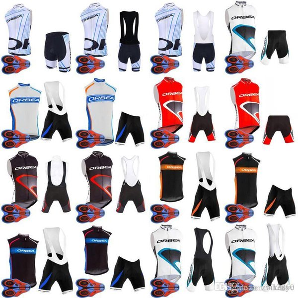 ORBEA team Cycling Sleeveless jersey Vest (bib)shorts sets high quality Polyester racing wear Clothes 9D Gel Pad D1346