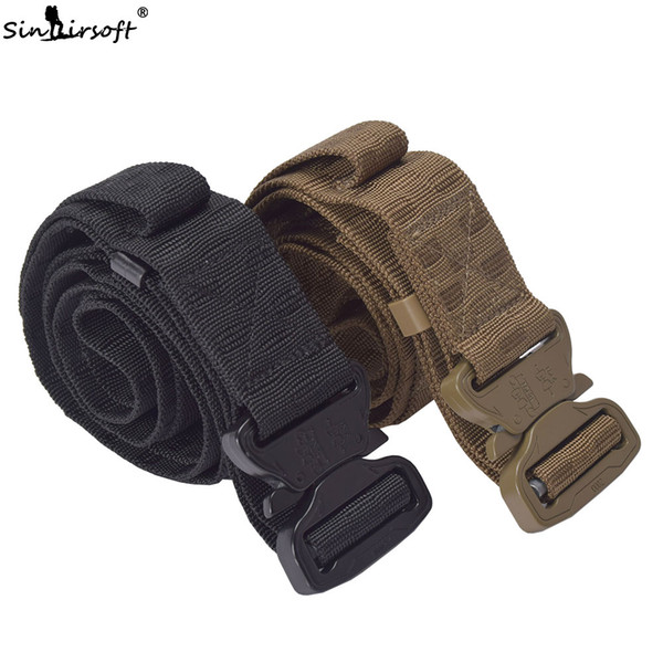 SINAIRSOFT Tático Do Exército Cinto de Cintura Homem Calças de Brim Cintura Masculina Cintura Lona Casual Cinto de Nylon Duty Combate Cintura Tiro Cinto de lona