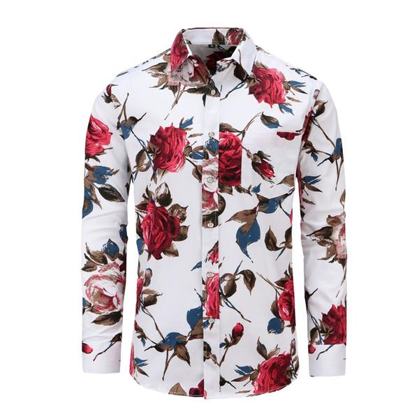Acheter JeeToo Manches Longues Imprimé Floral Hommes Chemise De Mode Coréenne Slim Fit Rose Fleur Chemises Trois Couleurs Automne Hiver Chemises