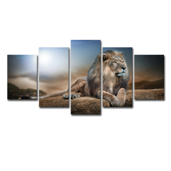 Modern HD Prints Pictures Framework Living Room Canvas Posters 5 Pieces Lion Animals Group Paintings Wall Art Home Decor