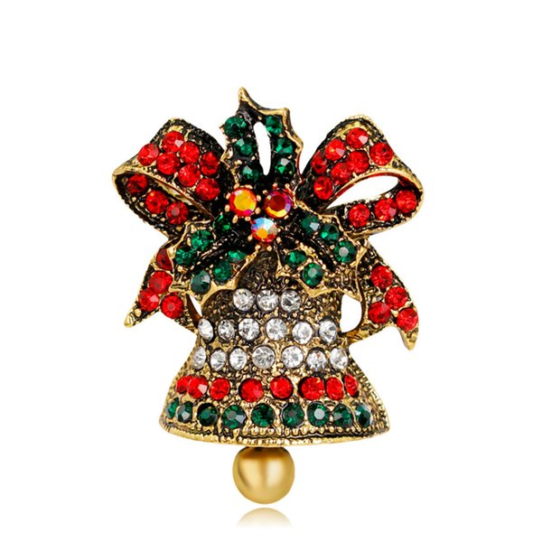Classic Christmas Bell Brooch Vintage Colorful Rhinestone Gold Plated Brooch Pins Popular Christmas Gifts Ornament Fashion Jewelry