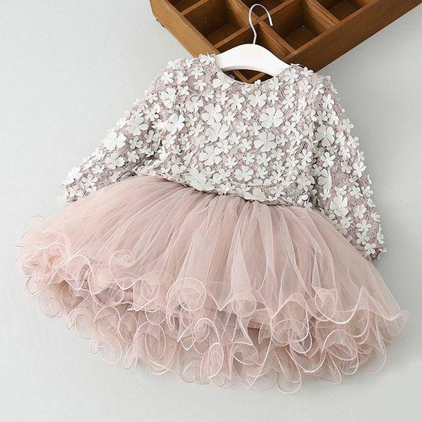 Outono inverno meninas dress crianças manga comprida tule flor 3d tutu dress elegante menina dress algodão crianças clothing