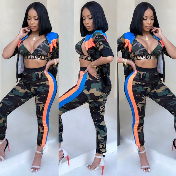 Camouflage Stripe Print Women Tracksuits 3 Piece Set Bra Top Zipper Jacket Outerwear and Pencil Pants Sporting Outfits Suit