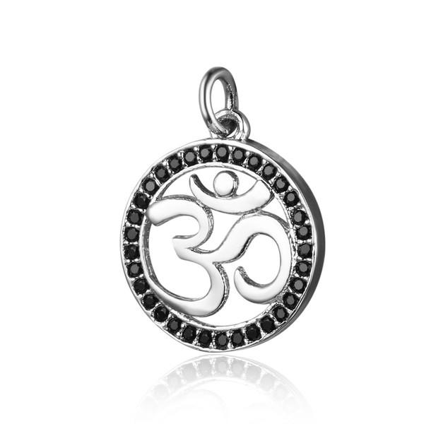 10 unids / lote OM Yoga CZ Charm Micro Pave Cubic Zirconia Lucky Symbol OM Colgante de Encantos DIY Yoga Joyería Hacer Encontrar al por mayor