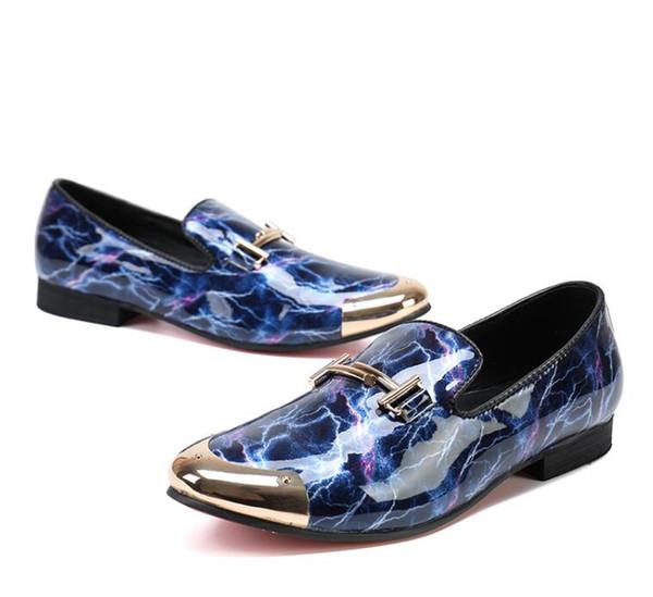 Les hommes d'Oxfords en cuir véritable Slip On Dress Shoes imprimé rouge chaussures de mariage Smart Casual Mertal Buckle Pointed Toes Oxford