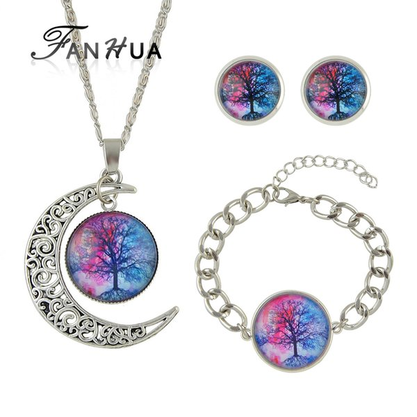 FANHUA Ethnic Jewelry Sets Antique Silver Color Chain Colorful Tree Pattern Round Pendant Necklace Stud Earrings Charm Bracelet