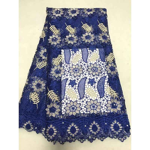 Materiale di pizzo solubile in acqua tessuto africano del merletto nigeriano STYLISH Royal Blue French Dress Dress Style Guipure Laces Material